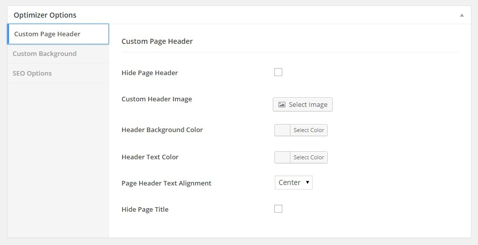Optimizer Page header