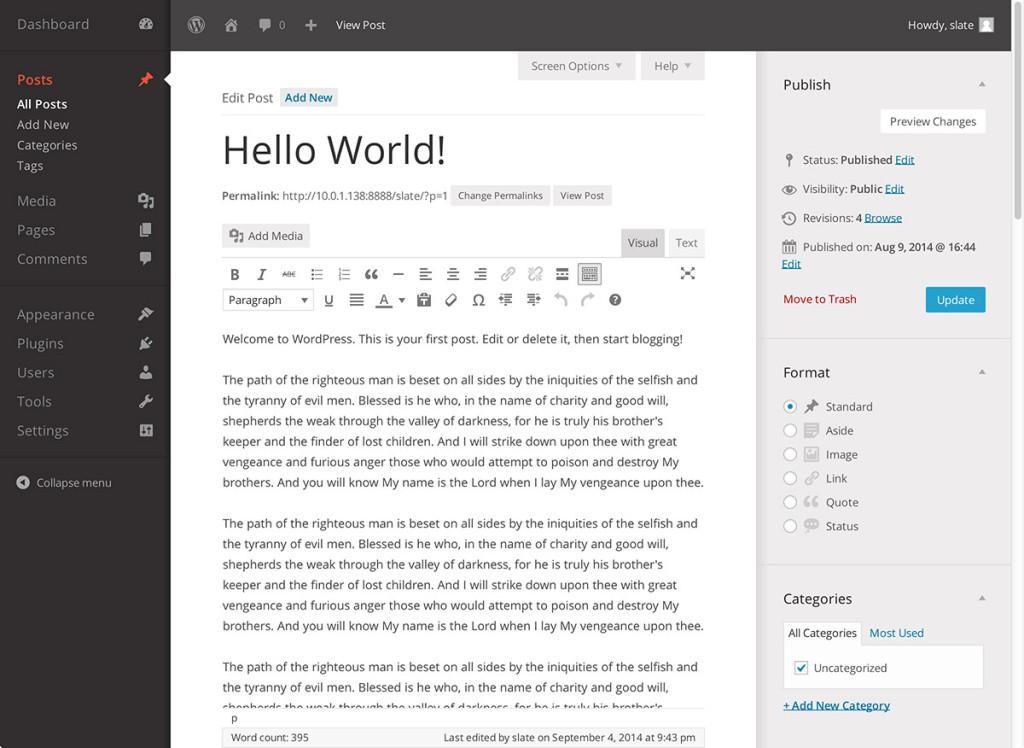Slate WordPress Admin Themes